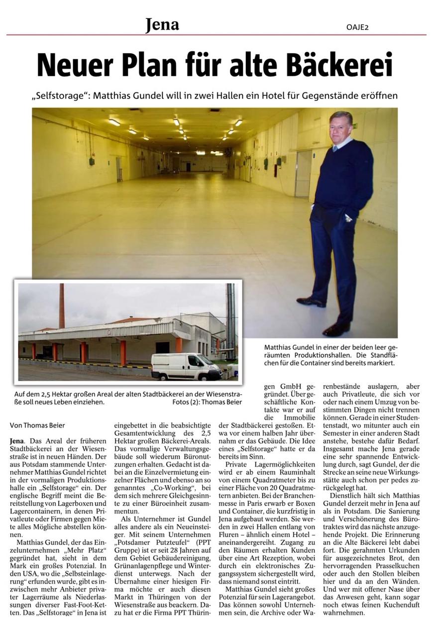 Aus Jenas alter Bäckerei wird riesige Lagerhalle - Ostthüringer Zeitung